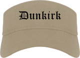 Dunkirk New York NY Old English Mens Visor Cap Hat Khaki