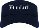 Dunkirk New York NY Old English Mens Visor Cap Hat Navy Blue