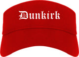 Dunkirk New York NY Old English Mens Visor Cap Hat Red