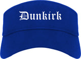 Dunkirk New York NY Old English Mens Visor Cap Hat Royal Blue
