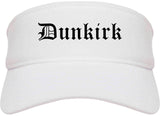 Dunkirk New York NY Old English Mens Visor Cap Hat White