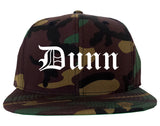 Dunn North Carolina NC Old English Mens Snapback Hat Army Camo