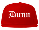 Dunn North Carolina NC Old English Mens Snapback Hat Red