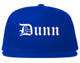 Dunn North Carolina NC Old English Mens Snapback Hat Royal Blue
