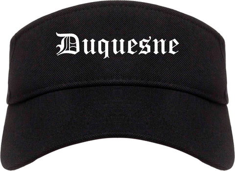 Duquesne Pennsylvania PA Old English Mens Visor Cap Hat Black