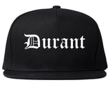 Durant Oklahoma OK Old English Mens Snapback Hat Black