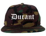 Durant Oklahoma OK Old English Mens Snapback Hat Army Camo