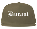 Durant Oklahoma OK Old English Mens Snapback Hat Grey