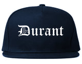 Durant Oklahoma OK Old English Mens Snapback Hat Navy Blue