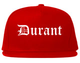 Durant Oklahoma OK Old English Mens Snapback Hat Red