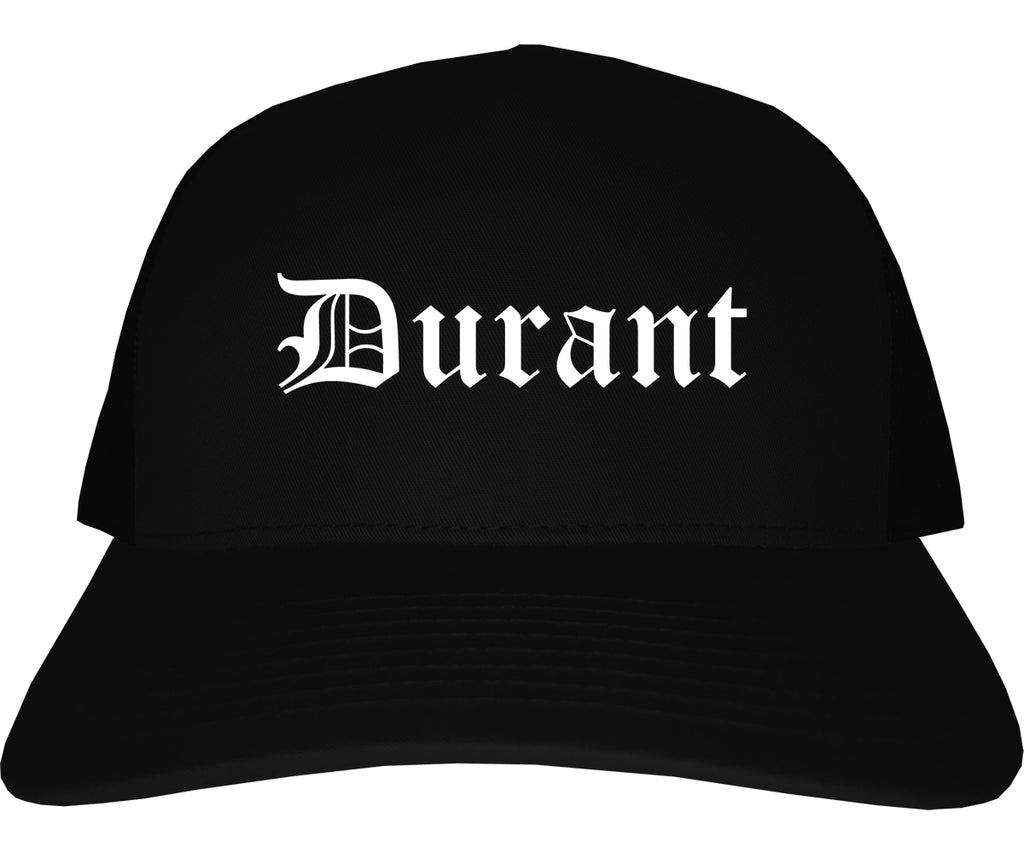 Durant Oklahoma OK Old English Mens Trucker Hat Cap Black