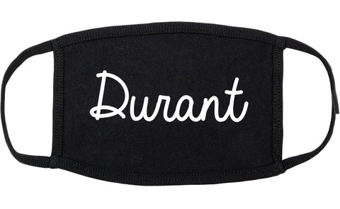 Durant Oklahoma OK Script Cotton Face Mask Black
