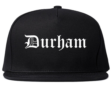 Durham North Carolina NC Old English Mens Snapback Hat Black