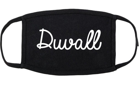 Duvall Washington WA Script Cotton Face Mask Black