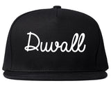 Duvall Washington WA Script Mens Snapback Hat Black