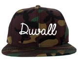 Duvall Washington WA Script Mens Snapback Hat Army Camo