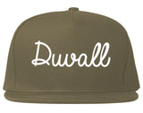 Duvall Washington WA Script Mens Snapback Hat Grey