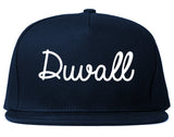 Duvall Washington WA Script Mens Snapback Hat Navy Blue