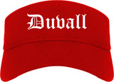 Duvall Washington WA Old English Mens Visor Cap Hat Red