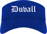 Duvall Washington WA Old English Mens Visor Cap Hat Royal Blue