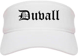 Duvall Washington WA Old English Mens Visor Cap Hat White