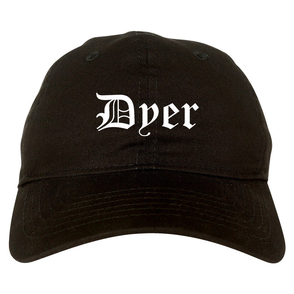 Dyer Indiana IN Old English Mens Dad Hat Baseball Cap Black