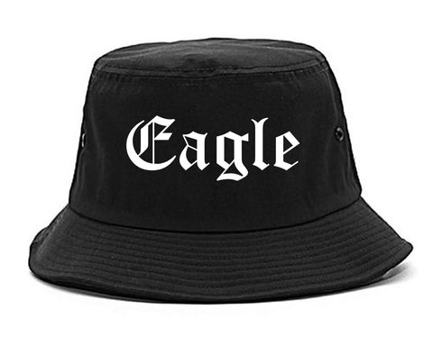 Eagle Idaho ID Old English Mens Bucket Hat Black