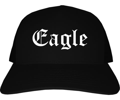 Eagle Idaho ID Old English Mens Trucker Hat Cap Black