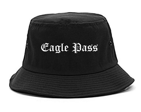 Eagle Pass Texas TX Old English Mens Bucket Hat Black