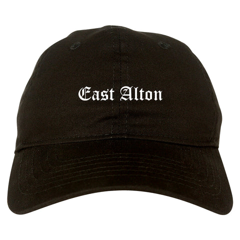East Alton Illinois IL Old English Mens Dad Hat Baseball Cap Black