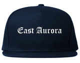 East Aurora New York NY Old English Mens Snapback Hat Navy Blue