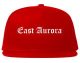 East Aurora New York NY Old English Mens Snapback Hat Red