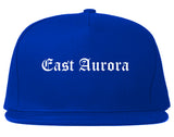 East Aurora New York NY Old English Mens Snapback Hat Royal Blue