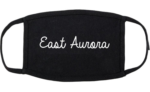 East Aurora New York NY Script Cotton Face Mask Black