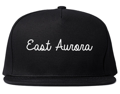 East Aurora New York NY Script Mens Snapback Hat Black