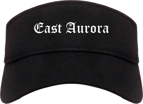East Aurora New York NY Old English Mens Visor Cap Hat Black