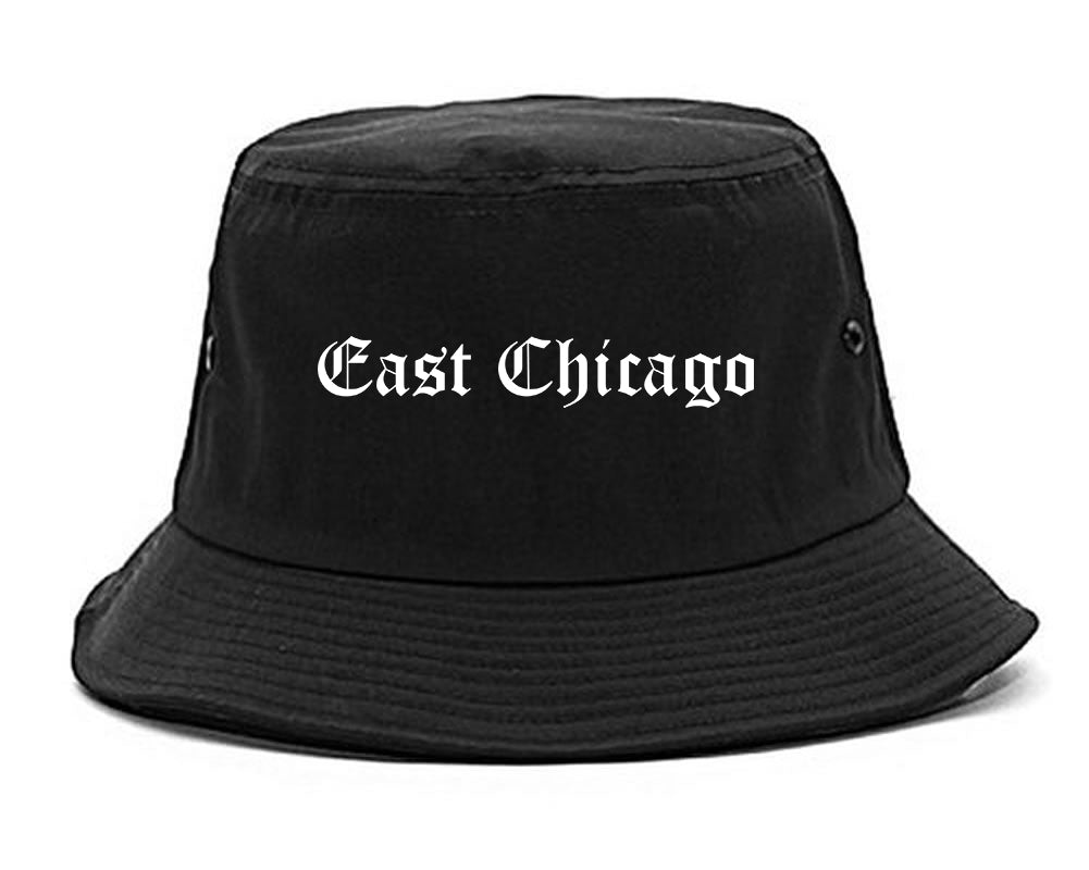 East Chicago Indiana IN Old English Mens Bucket Hat Black