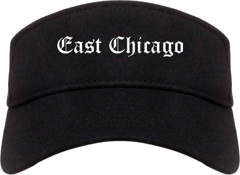 East Chicago Indiana IN Old English Mens Visor Cap Hat Black