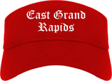 East Grand Rapids Michigan MI Old English Mens Visor Cap Hat Red