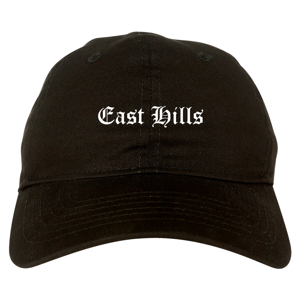 East Hills New York NY Old English Mens Dad Hat Baseball Cap Black