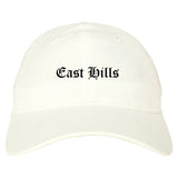 East Hills New York NY Old English Mens Dad Hat Baseball Cap White