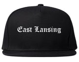 East Lansing Michigan MI Old English Mens Snapback Hat Black