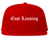 East Lansing Michigan MI Old English Mens Snapback Hat Red