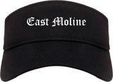 East Moline Illinois IL Old English Mens Visor Cap Hat Black