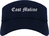 East Moline Illinois IL Old English Mens Visor Cap Hat Navy Blue