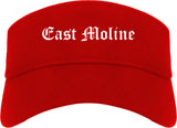 East Moline Illinois IL Old English Mens Visor Cap Hat Red
