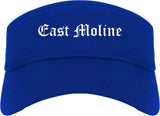 East Moline Illinois IL Old English Mens Visor Cap Hat Royal Blue