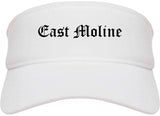 East Moline Illinois IL Old English Mens Visor Cap Hat White