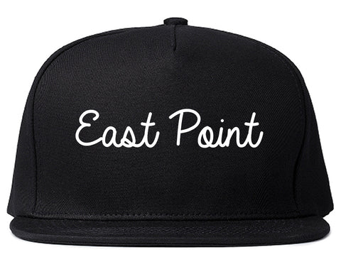 East Point Georgia GA Script Mens Snapback Hat Black