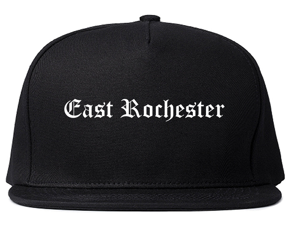 East Rochester New York NY Old English Mens Snapback Hat Black
